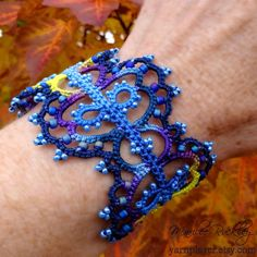 Bracelet, blue purple beaded tatted lace cuff by Marilee Rockley, yarnplayer on Etsy