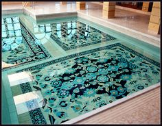 handmade, ceramic Persian carpet for the pool floor. amazing!