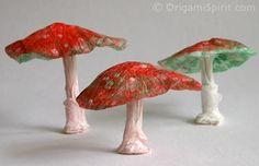 Reuse Tissue Paper to Make Origami Mushrooms featured on Origami Spirit.