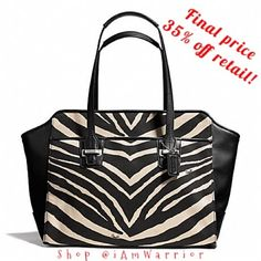 "NWT Coach black/cream zebra carryall bag GENUINE COACH ZEBRA CARRYALL SILVER/BLACK/BLACK, new with tags!  Printed fabric with leather trim  Inside zip, cell phone and multifunction pockets. Zip-top closure, fabric lining  Outside open pockets  Handles with 7"" drop  14"" (L) x 10 3/4"" (H) x 5"" (W) COACH  Retails for $398. Selling 30% off retail! Price firm unless bundled. Coach Bags"