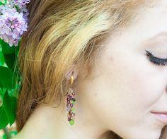 Sapphire and peridot long cascade earrings by AlisonStorryJewelry #artisanearrings