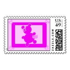 Pink Bow and Purse Teddy Bear Stamps Postage