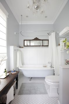 Love It Or List It Vancouver: Love this soft gray and hexagon tile floor (oh and everything else..) #BathroomDesign