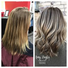 Ash Blonde highlight/lowlight transformation by @askforamy