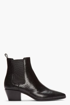 From Let's Dance: Seven Shoes to Wear for a Night Out  Saint Laurent black lizard-embossed leather rock Chelsea boot, $1,025