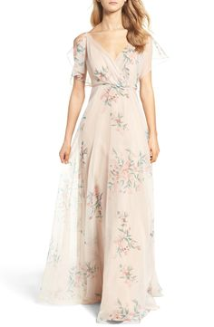 Jenny Yoo Cassie Flutter Sleeve Surplice Gown Feather-light and printed with painterly floral bursts, this ethereal gown features a beautifully draped surplice neckline, romantic flutter sleeves and a floaty, floor-sweeping skirt. Cream Bridesmaids, Cream Bridesmaid Dresses, Blush Dresses, Pretty Dresses, Beautiful Dresses, Prom Dresses, Formal Dresses, Blush Gown, Wedding Dresses