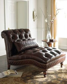 Old Hickory Tannery Mocha Leather Chaise from Horchow   BHG.com Shop