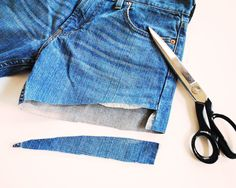 {DIY} Denim Cut - Offs  |  The Glamourai ...nice idea using guy pants for this...