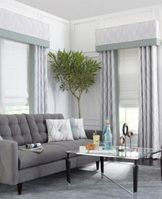Custom window top treatment with side draperies and cordless fabric roman shades   BestWindowTreatments.com