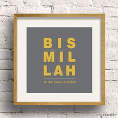 Printable Islamic Design Bismillah Custom Color by inmystudioo Islamic Decor, Islamic Wall Art, Islamic Gifts, Wall Colors, Printing Services, Diy Art, Printable Art, Framed Prints, Ramadan