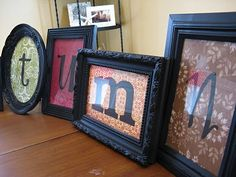 Spray painted Dollar Tree Frames with scrapbook paper to spell a word ... on shelf by front door?