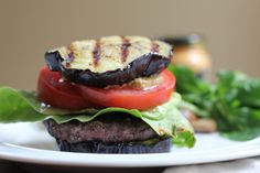 Grilled eggplant buns and grass-fed beef make these burgers something you can really get excited over. #Healthy #BBQ