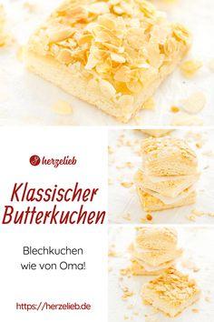 Blechkuchen Rezepte, Kuchen Rezepte: Saftiger Butterkuchen von herzelieb - Norddeutscher gehts nicht! Omas bester Kuchen vom Blech. Ganz große Blechkuchen Liebe. Mit Butter und goldbraunen Mandeln. Weltbester Butterkuchen ganz einfach, schnell, mit Hefeteig und Mandeln. Man kann einfach nie genug Butterkuchen Rezepte haben. Verwende frische Hefe oder Trockenhefe, beides ist möglich! Einfacher Butterkuchen ist der Beste! #herzelieb #butterkuchen Camembert Cheese, Dairy, Food, Tray Bakes, Eten, Meals, Diet