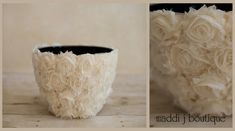 How easy is this? Ugly pot with DIY fabric flowers hotglued on...