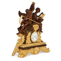 Large gilt and patinated bronze three piece clock set