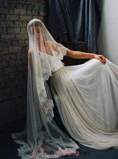 One Layer Floor Length Weeding Veil with Lace Applique along the Edge Horsehair Veil, Wedding Veils, Wedding Dresses, Lace Veils, Horse Hair, Scalloped Lace, Lace Applique, Wedding Planning, Layers