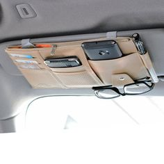 Buy Multifunctional Leather Car Sun Visor Storage Bag Visor Cover Card License Holder Glasses Folder at Wish - Shopping Made Fun Car Seat Organizer, Pocket Organizer, Kombi Home, Leather Car Seats, Seat Storage, Car Storage Box, Vehicle Storage, Car Essentials, Car Gadgets