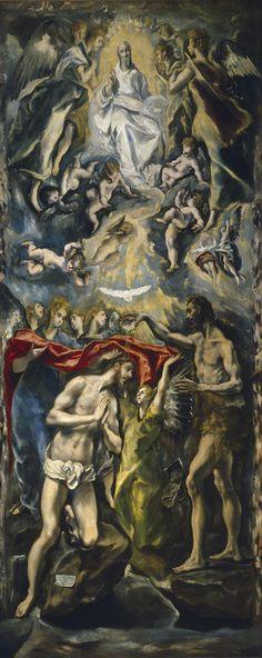EL GRECO. El bautismo de Cristo. Realizado para el retablo de doña María de Aragón. 1597. Prado