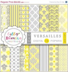 50% off Yellow Gray Digital papers for scrapbooking, invites, cards, photographer backgrounds VERSAILLES download