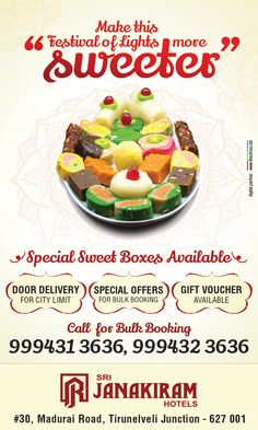 This diwali blasts with more happiness! Make this Festival of Lights more #sweeter with Srijanakiram Hotels Special Diwali Sweet Boxes. ✔ Special Offer for bulk booking. ✔ Door Delivery ( City Limit ) ✔ Gift Voucher Available Call for bulk booking - +91 999413636, +91 999423636  #srijanakiram #diwali #special #sweet #boxes #tirunelveli #halwa #nellai #Festival