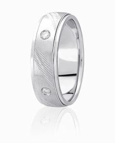 Angeled Coin Edge Design Wedding Ring Complimented By Round Brilliant Diamonds In A Flush Setting Style