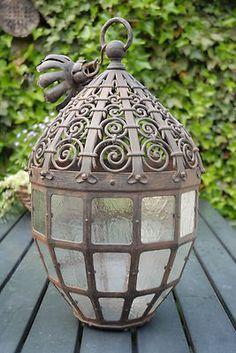 Rare Huge Museum Quality Arts & Craft Wrought Iron 12 Angular Lantern | eBay