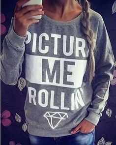 Picture Me Rolling Printed Long Sleeve Sweatshirt For Women