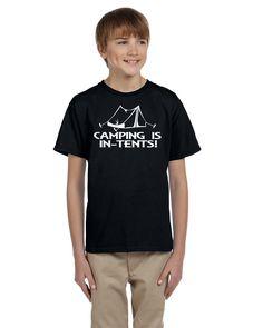 Camping is In Tents, Outdoors adventure Youth T Shirt Nerd Girl Tees, Geek Chic, kids tee, nerdy kids