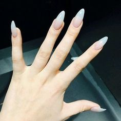 nude almond shaped nails