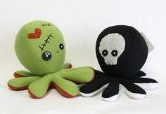 Frankenstein / Zombie and Skeleton octopus plushie by ~jaynedanger on deviantART