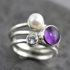 Gemstone and Pearl Stacking Ring Set by Sarah Hood: Silver, Stone, & Pearl Ring - STUDIO SALE available at www.artfulhome.com
