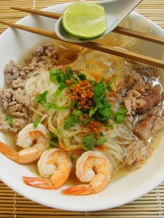 For hard to get ingredients for this Cambodian recipe - Phnom Penh Noodle Soup see our grocery guide at All About Cuisines. #Cambodian Food #Cambodian Ingredients
