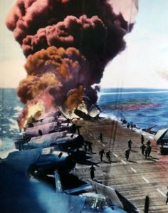 The aircraft carrier USS Belleau Wood burns on Oct. 30, 1944, after it was hit by a Japanese kamikaze plane.
