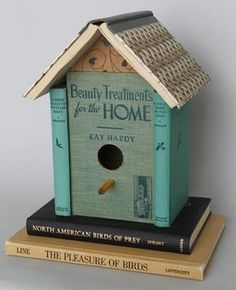 upcycling 5 new uses for old things in home decor, design d cor, repurposing upcycling, 3 Old Books Transformed into a bird house This is such a quaint and cute idea I also really love how this person didn t destroy the books to construct this It is so si Book Projects, Diy Projects To Try, Craft Projects, Craft Ideas, Old Book Art, Old Books, Vintage Books, Old Book Crafts, Craft Books