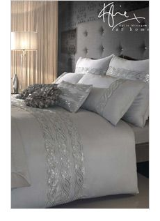 LOVE the touch of sparkle with the grey!  Sexy bedroom!