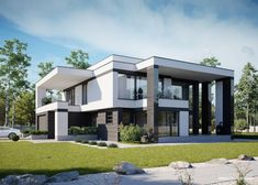 Two storey house in modern style with usable area House with a large garage. Minimum size of a plot needed for building a house is m. Modern House Facades, Modern House Plans, Modern House Design, 5 Bedroom House Plans, House Rooms, Two Storey House, Facade House, Types Of Houses, Home Projects