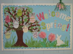 easter/spring bulletin board. I like the idea of di-cutting scrapbook paper for the letters! Must remember.