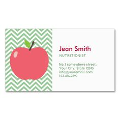 Cute Apple Green Chevron Nutrition Business Card. I love this design! It is available for customization or ready to buy as is. All you need is to add your business info to this template then place the order. It will ship within 24 hours. Just click the image to make your own!