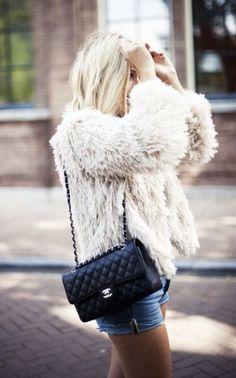 Ivory shag coat.