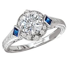 117582-100, 18kt white gold vintage style diamond/blue sapphire semi-mount engagement ring, D=.13ct, S=.13ct $1345