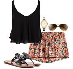 black tank top, floral shorts, aviators, leather sandals, gold watch Repin & Follow my pins for a FOLLOWBACK!