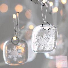 'Снежинки' набор из 5 стеклянных елочных украшений