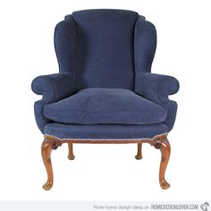 A George 2nd style English walnut wing chair with cabriole legs and pad feet. It looks good in blue fabric.