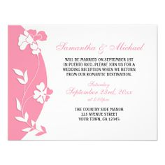 Abstract Floral Pink Reception ONLY Invitations