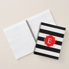 Black and White Striped with Red Monogram Notebook - black and white gifts unique special b&w style