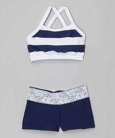 Look at this #zulilyfind! Navy Blue & White Stripe Crop Top & Shorts - Girls by Elliewear #zulilyfinds