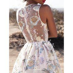 Sexy Plunging Neck Sleeveless See-Through Flower Pattern Women's Dress
