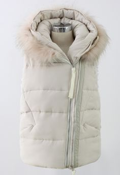 Faux Fur Hooded Quilted Vest