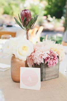 red protea garden roses and dahlia rustic wedding centerpiece - Deer Pearl Flowers Rustic Wedding Centerpieces, Wedding Table, Wedding Decorations, Centrepieces, Floral Centerpieces, Rustic Weddings, Protea Wedding, Wedding Flowers, Decoration Inspiration