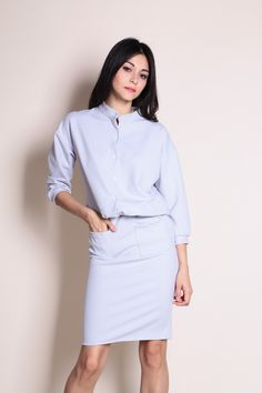 Two Piece Top and Skirt Set (Grey) SGD$ 39.00